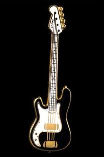 Electric Bass Guitar Pin - Black