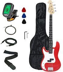 Crescent Electric Bass Guitar Starter Kit - Red Metallic
