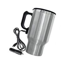 Electric Coffee Mug with Car Plug - Color: Stainless Steel