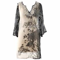 Luxury Divas Elegant Gray & Beige Sheer Beach Cover-Up With