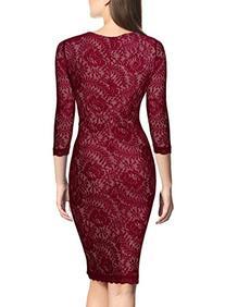 Miusol Women's Elegant Floral Lace 2/3 Sleeve Slim Evening