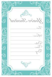 Elegant Turquoise Fill In Invitations - Wedding, Bridal