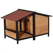 Pawhut Small Elevated Dog House with Opening Roof