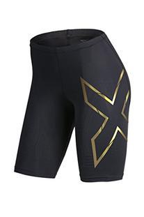 2XU Women's Elite MCS Compression Shorts, Black/Gold, Small