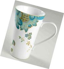 222 Fifth Eliza Teal Paisley Tall Latte Mugs, Set of 2