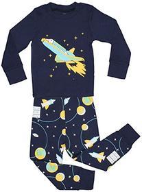 "Elowel Little Boys ""Space Rocket"" 2 Piece Pajama Set 100%"