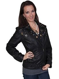Scully Women's Embellished Lamb Motorcycle Jacket Black