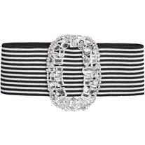 Alessandra Rich Embellished Stretch Belt