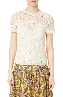 Women's Red Valentino Embroidered Hummingbird Lace Top, Size