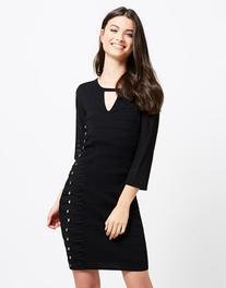 Morgan Embroidered Sheer Sleeve Bodycon Dress