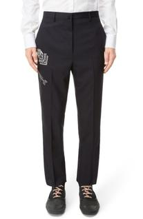 Men's Lanvin Embroidered Wool Trousers, Size 52 EU - Blue