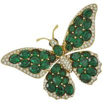 Ciner Emerald Butterfly Brooch