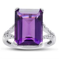 10ct Emerald Shape Amethyst and Diamond Ring Crafted In