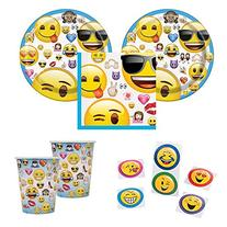 Official Emoji party supplies for 16 guests - cake plates,