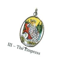 THE EMPRESS TAROT CARD CHARM Glass Covered Altered Art for