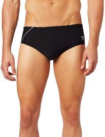 Speedo Men's Endurance+ Mercury Splice Brief Swimsuit, Black