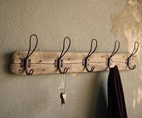 Entryway Rustic Style 5 Hook Wall Mount Wooden Coat Rack,