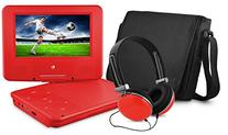 DVD Player, Ematic 7 inch Swivel Red Portable DVD Player
