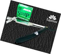 Sharp Equinox Straight Edge Razor, Black with Hi-Chromium