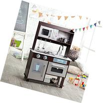 KidKraft Espresso Toddler Play Kitchen with Metal Accessory