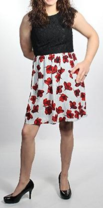 Kensie Women's Etched Poppies Dress, Red Pop Combo, Small