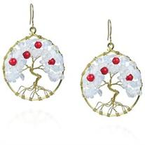 Eternal Tree of Life Coral-Moonstone Branch Brass Dangle