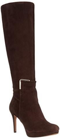 Nine West Women's Evah Suede Riding Boot Boot,Dark Brown,5.5