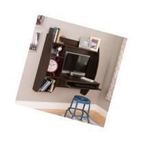 Everett Espresso Floating Wall Mounted Desk W/Storage and