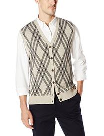 Haggar Men's Exploded Argyle Button Front Sweater Vest,