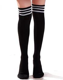 HDE Women Three Stripe Over Knee High Socks Extra Long
