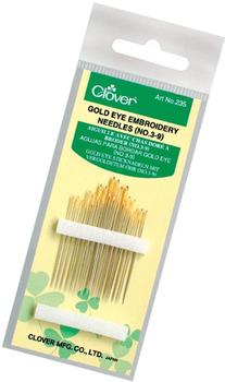 Clover No. 3-9 Gold Eye Embroidery Needles, Pack of 16