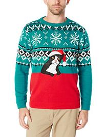 Alex Stevens Men's Fairisle Kitty Ugly Christmas Sweater,