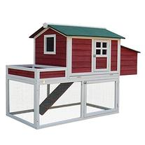 """Pawhut 63"""" Farmhouse Wooden Chicken Coop with Display Top,"""