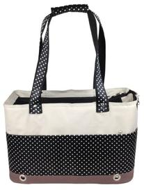 Pet Life Fashion Tote Spotted Pet Carrier, Medium, Black and