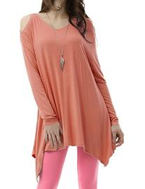 Crewneck Cotton Knit Asymmetrical Tunic Top INDIPINK 2XL