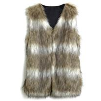 Chicwish Faux Fur Vest in Striped Camel