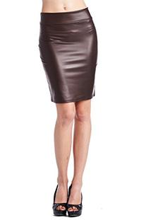 82 Days Women'S Faux Leather Above Knee Pencil Skirt -