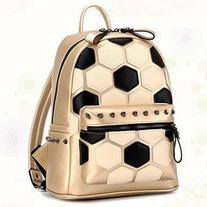 Faux-Leather Football-Print Backpack