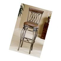 Faux Leather Upholstered Wrought Iron Swivel Bar Stool