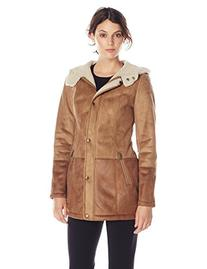 Jessica Simpson Women's Faux Shearling Coat with Hood, Honey