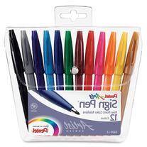 Pentel Felt Tip Sign Pen, Set of 12  Assorted Colors