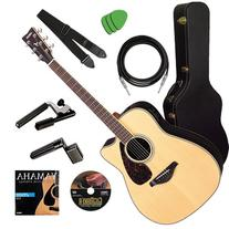 Yamaha FGX730SC Guitar STAGE BUNDLE w/ Hard Case, Capo &