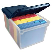 File Tote Storage Box with Lid , Letter, Plastic, Clear/Navy