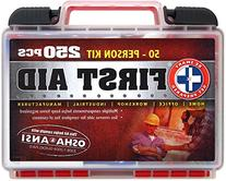 """Be Smart Get Prepared 250 Piece First Aid Kit, Exceeds OSHA"