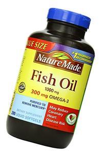 Nature Made Fish Oil 1000 mg w. Omega-3 300 mg Softgels 250