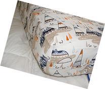Fitted Crib Sheet woodland Tribal Teepee Navy Orange Taupe