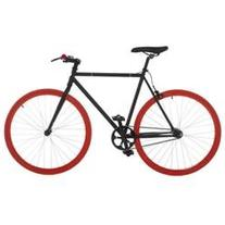 Fixed Gear Fixie Single Speed Road Bike, 21.3 in, Black/Red