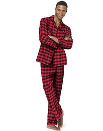 Hanes Men`s Flannel Pajamas,0140/0140X,L,Buffalo Check