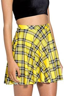 Women's Flared Stretch Soft Tartan Yellow Print Pleated Mini