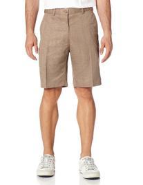 PGA TOUR Men's Flat Front Printed Plaid Short, Silver Mink,